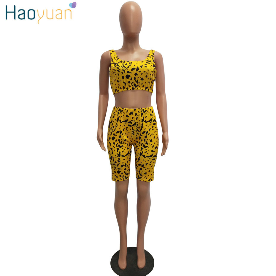Haoyuan Snake Print Outfits For Women Tracksuit Summer Crop Top+biker Shorts Sweat Suit Sexy Club Two Pcs Matching Sets J190616