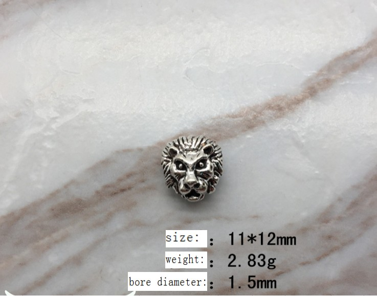 5//20pcs Retro Skull Alloy Charms Big Bore Beads Jewelry Making DIY 12*15mm