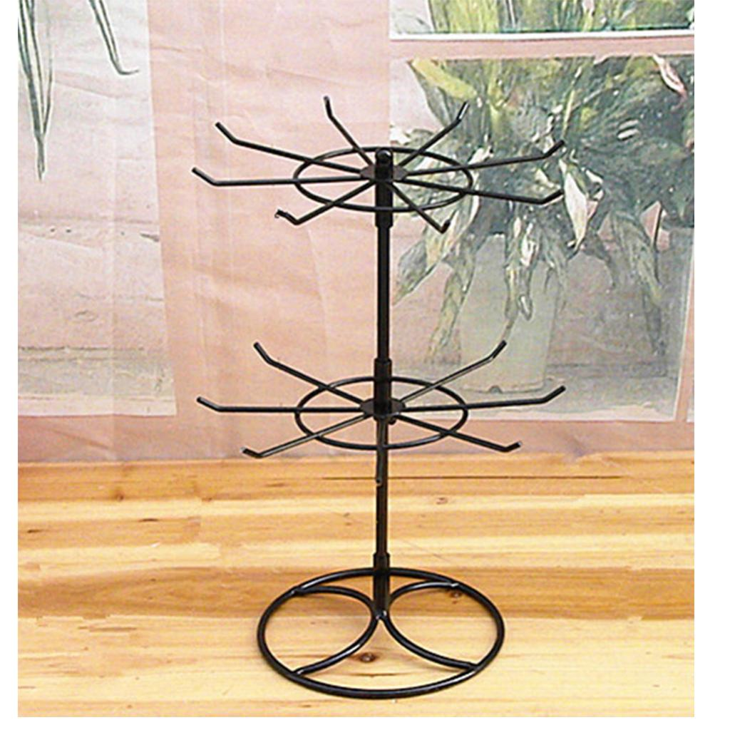 2 Pieces Black/White 2 Tiers Stand Rotating Earrings Jewelry Holder Display Towel Jewelry Stand Display