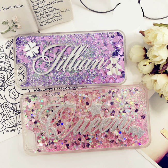 For Samsung S7 edge S8 S9 Plus Note 3 4 5 8 9 Luxury Exclusive Custom name Phone Case Soft Glitter sand Liquid Quicksand Cover