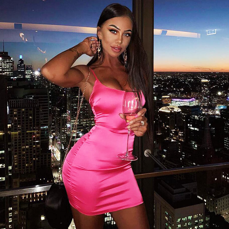 Newasia Garden 2 Layers Satin Dress Sexy Women Bodycon Dress Pink Tight Christmas Party Dress Silky Mini Ladies Dresses Orange Y19052901