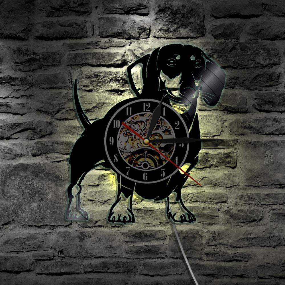 2019 Pieza Dachshund Dog Vinyl Record Reloj de Pared Animales Reloj de Pared Pet Doggy Pug Decoración para el Hogar Tiempo Cachorro Perro Amante Regalo