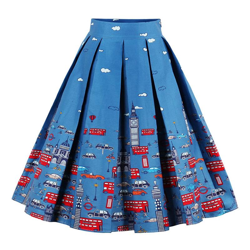 Kostlish Retro Print Flower Summer Skirts Womens High Waist Vintage Skirt Elegant A-Line Midi Women Skirt Plus Size XXL (14)