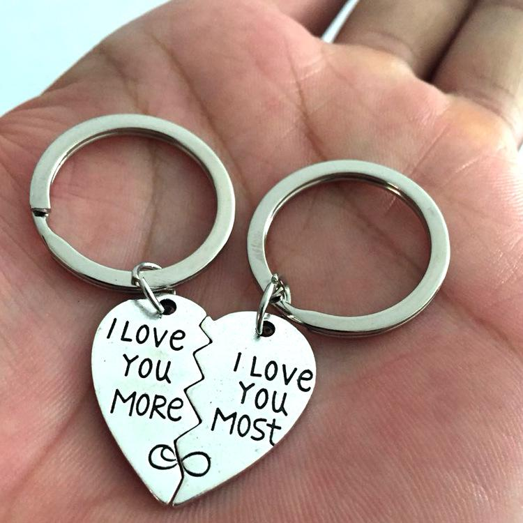 """2pcs Couples Lovers Word Metal Key Chain Ring /""""I Love You/"""" Silver Gift CA"""