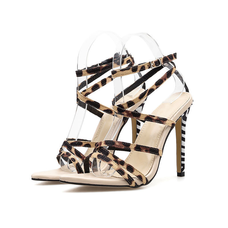 New High Heels Leopard Sandals Women Summer Sexy Pointed Toe Open Toe Ladies Shoes Fashion Cross Strappy Stiletto Party Sandals