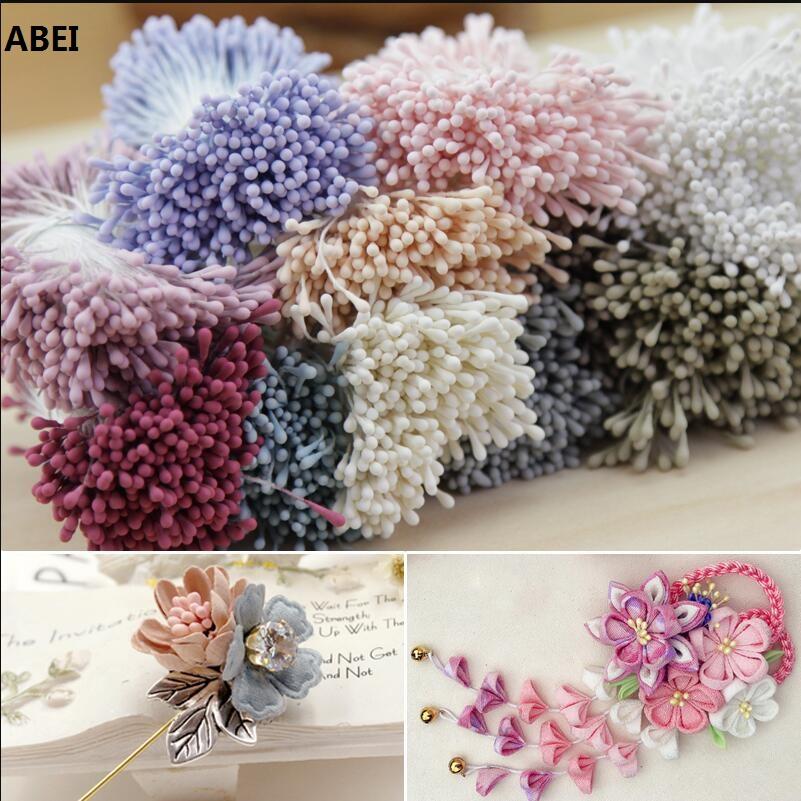 12 Bouquets Mini Artificial Flower Stamen Wedding Wreath Ring DIY Decor Red