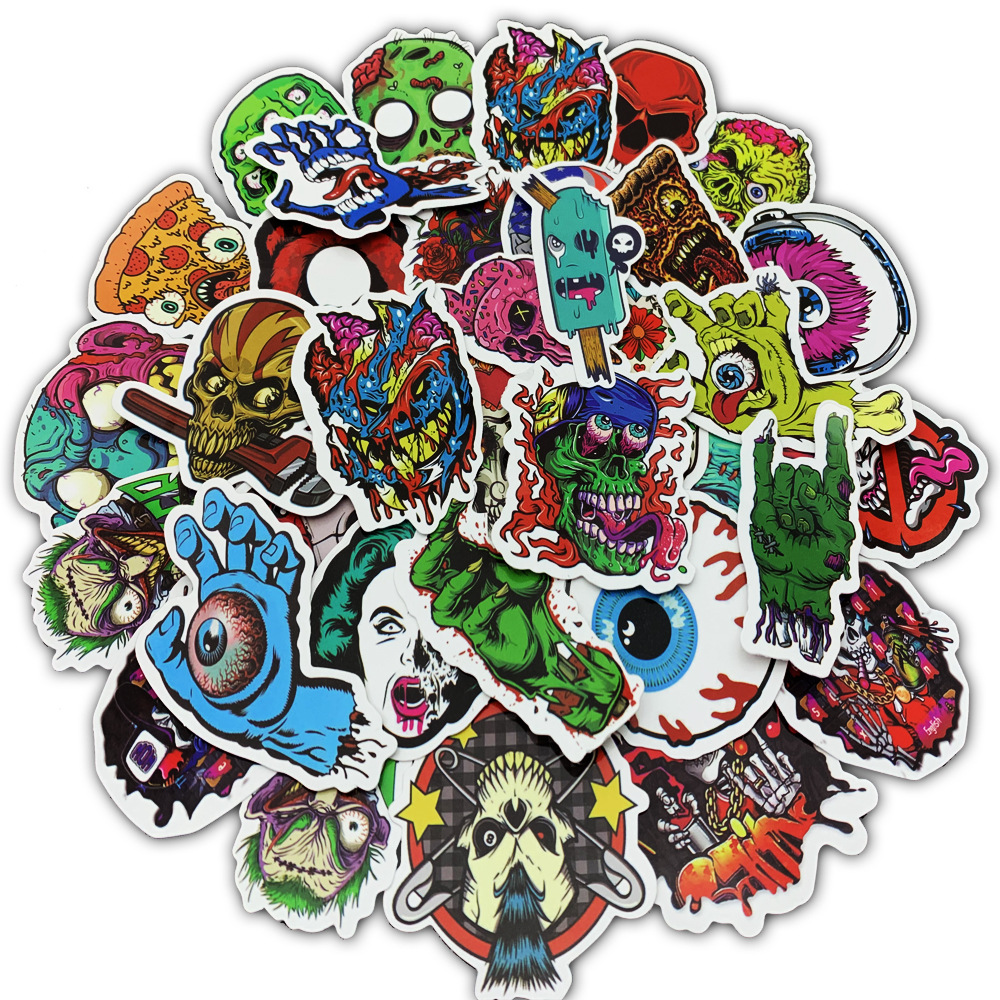 UK 50 Horror Graffiti Punk Skull Zombie Stickers for Laptop Skateboard Luggage