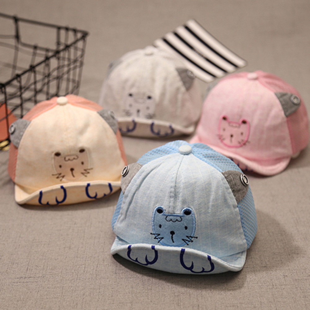 Cute Kids Child Animal Embroider Bongrace Hat Peak English Baseball Cap Sunhat