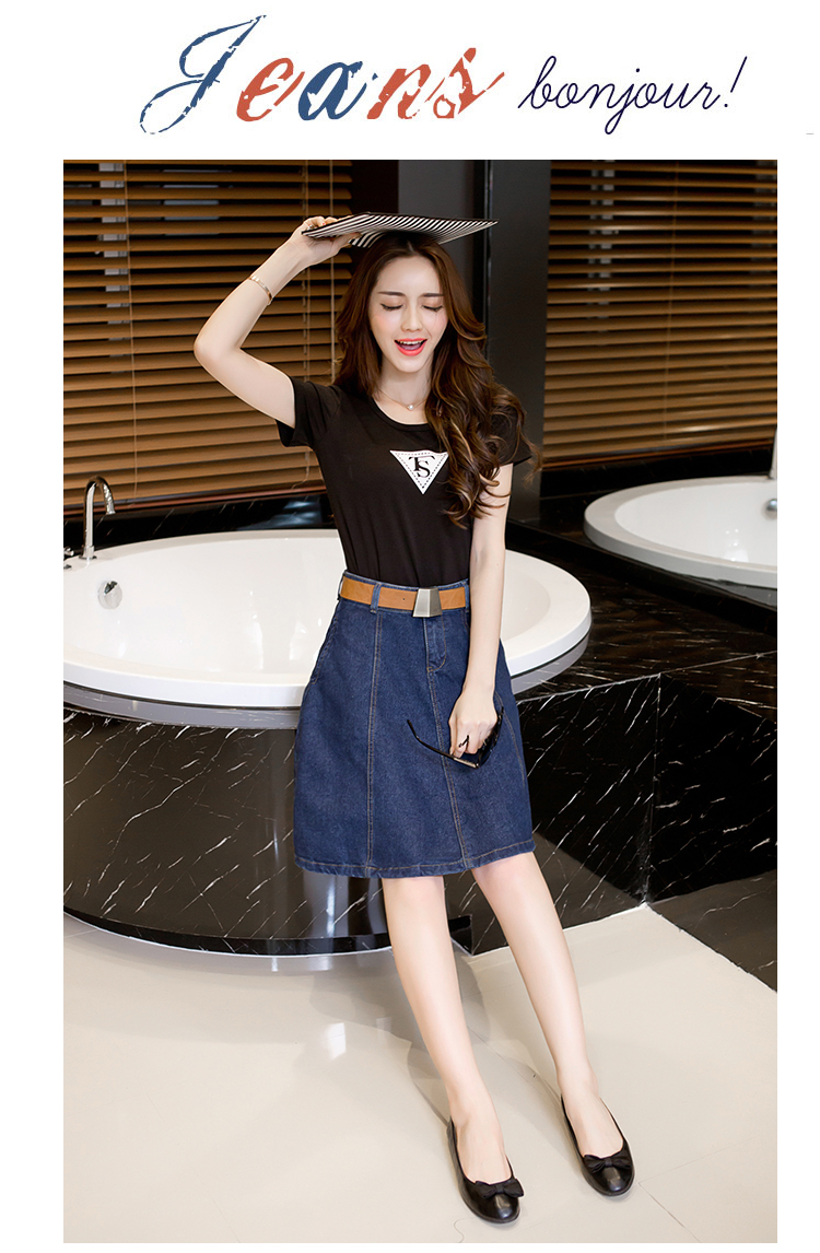 6018 Denim High Waisted Skirts Womens Plus Size A-line Knee Length Elegant Work Wear Jeans Skirt Women 2019 Spring Autumn Skirts 3