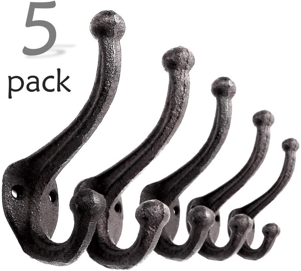 Vintage Acorn Black, Set of 4 Towels Vintage Cast Iron Wall Hooks Hats - Rustic Great for Coats Farmhouse Coat Hooks Bags
