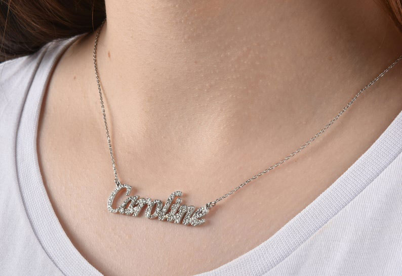 Custom Name Necklace Personalized with Iced Out Cubic Zirconia for Women S925 Sterling Silver Pave Any Language Nameplate Customized 2694