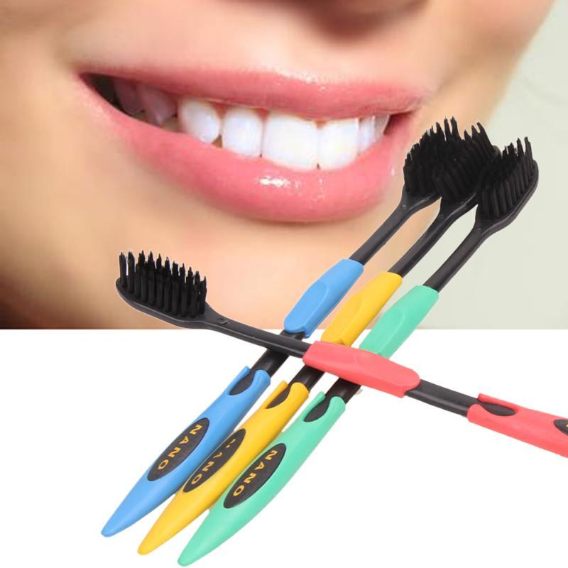 Double Ultra Soft Toothbrush Bamboo Charcoal Nano Tooth Brush Teeth Cleaning Oral Hygiene Toothbrush Black or Yellow Head C18112601