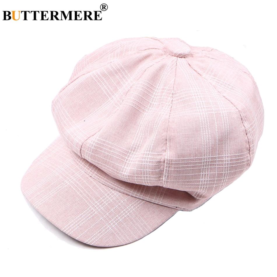 wholesale Pink Newsboy Caps Gatsby Women Cotton Octagonal Hats Berets Female Solid Casual Spring Summer Designer Painter Caps