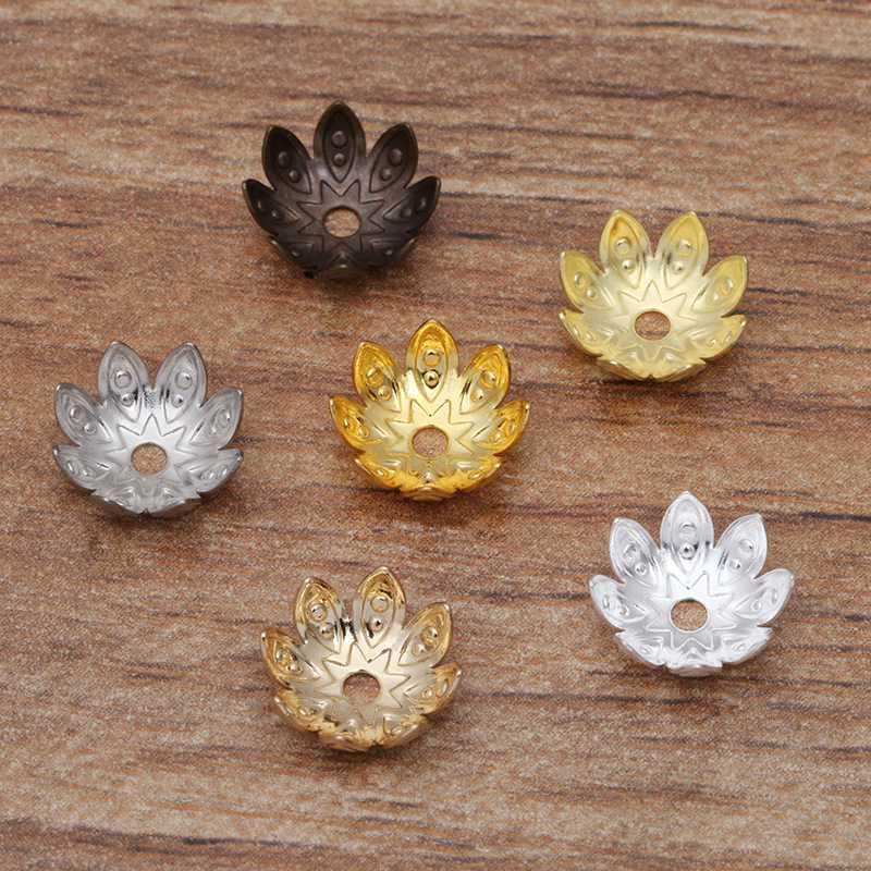 100 piezas de filigrana de plata de Forma de Flor de Copa suelto bolas Tapas para joyería haciendo Fo