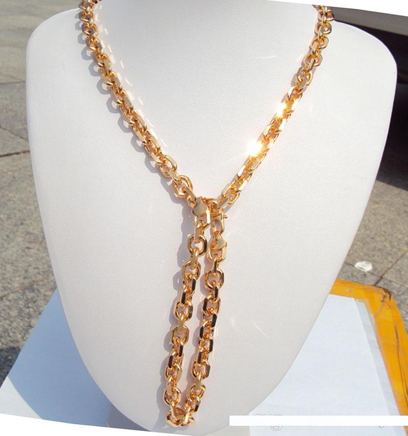 Bracelet Perles Link Chaîne femme Vintage Véritable 18K or jaune rempli Bijoux Cadeau