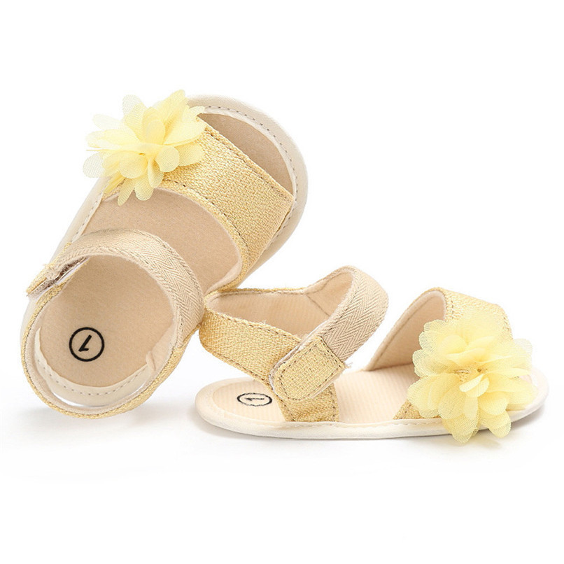 Summer Baby Girl Shoes Newborn Toddler Baby Solid Canvas Flower Sandals Soft Sole Anti-slip Shoes Baby Girls Sandals JE25#F (20)