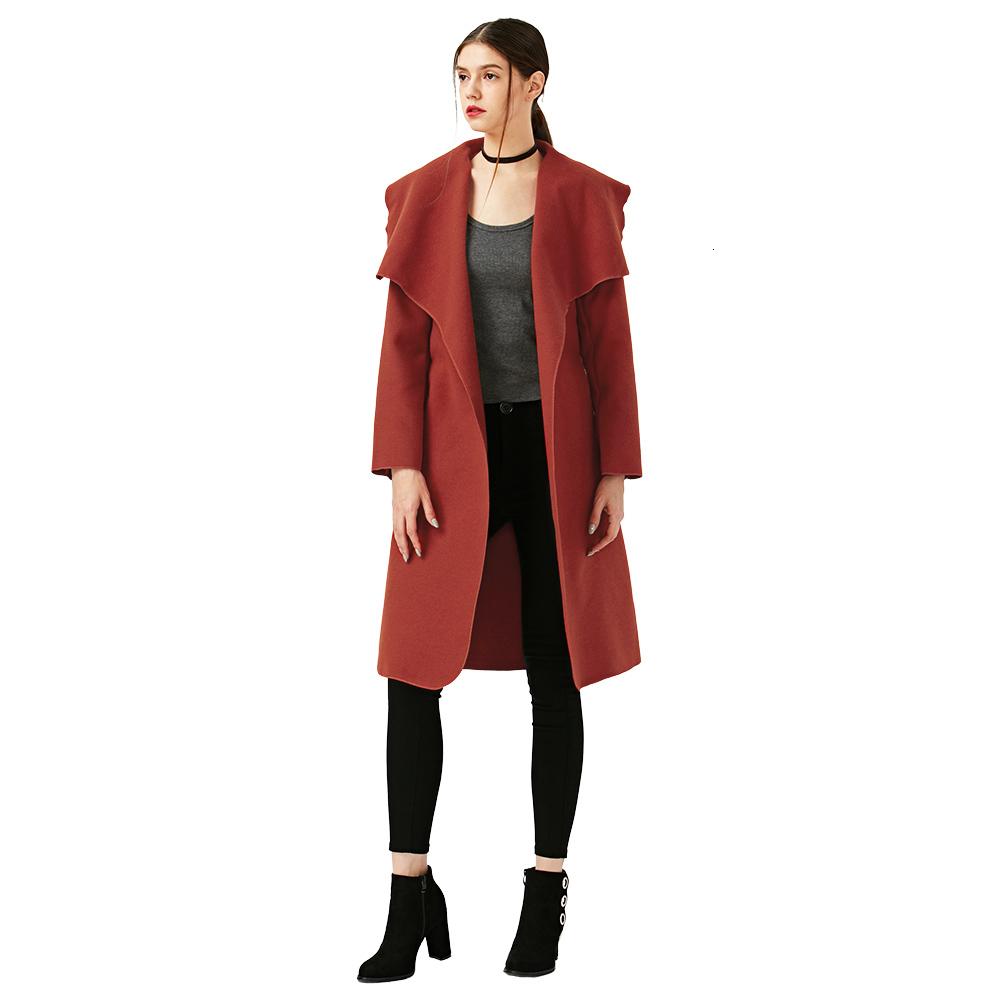 New Fashion Elegant Winter Women/'s Cashmere Coats Belted Shawl Collar Wool Coats