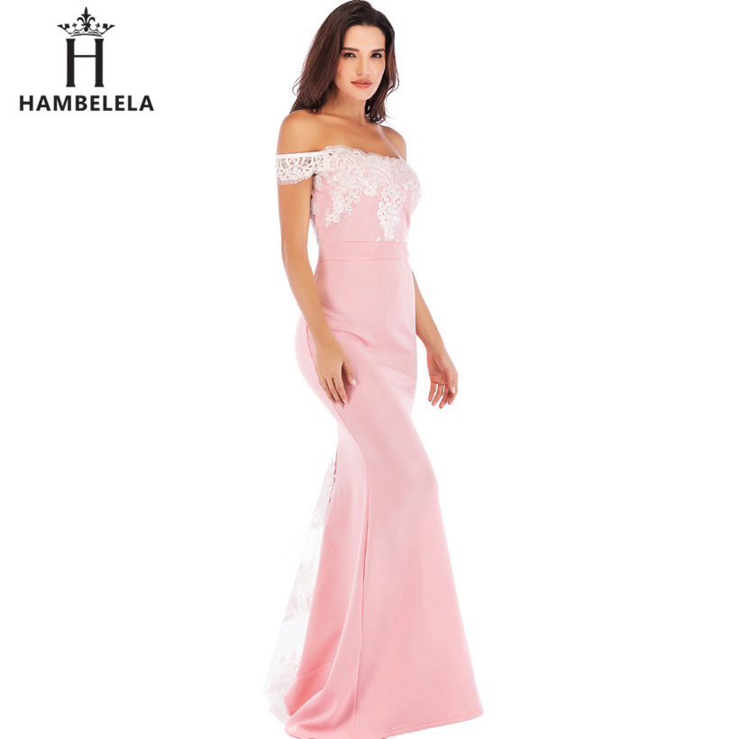 HAMBELELA Vestido De Festa Pink Black Red Mermaid Dress Lace Top Bodice Slim Long Formal Party Dress Charming Wedding Party Gown (3)