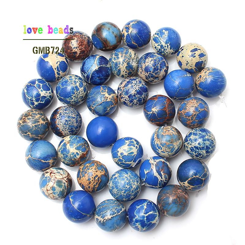 Granos de piedra natural Blue Sea Sediment Granos flojos redondos para la fabricación de joyas 15.5