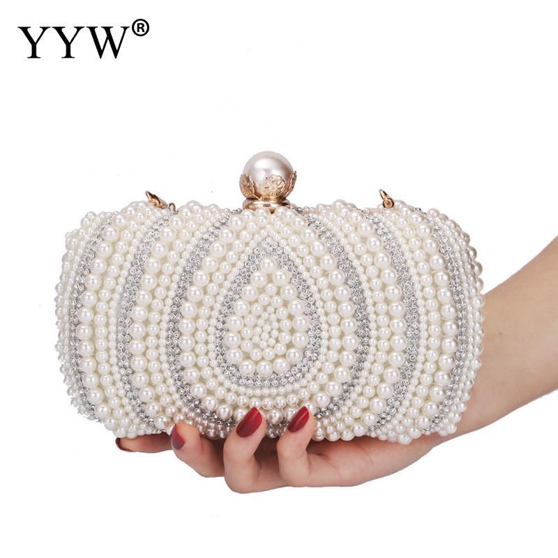 YYW Ovale En Forme De Perle Perlé Sac À Main Femmes Blanc Sac D'embrayage Élégant Chaîne Sacs À Main D'épaule De Mariage De Mariée Bourse D'embrayage