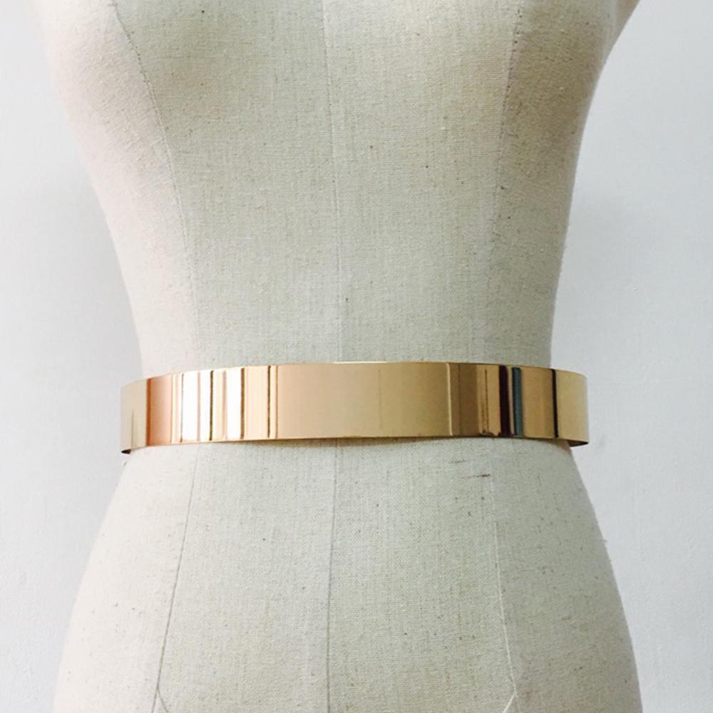 Fashion Elastic Wide Belt Wild Retro Simple Metal Gold Buckle For Women Dresses