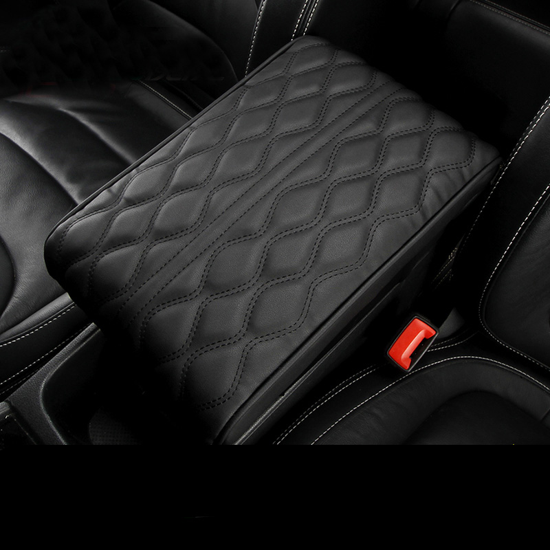 Universal PU Leather Car Center Console Armrest Vehicle Cover Seat Auto Pad New
