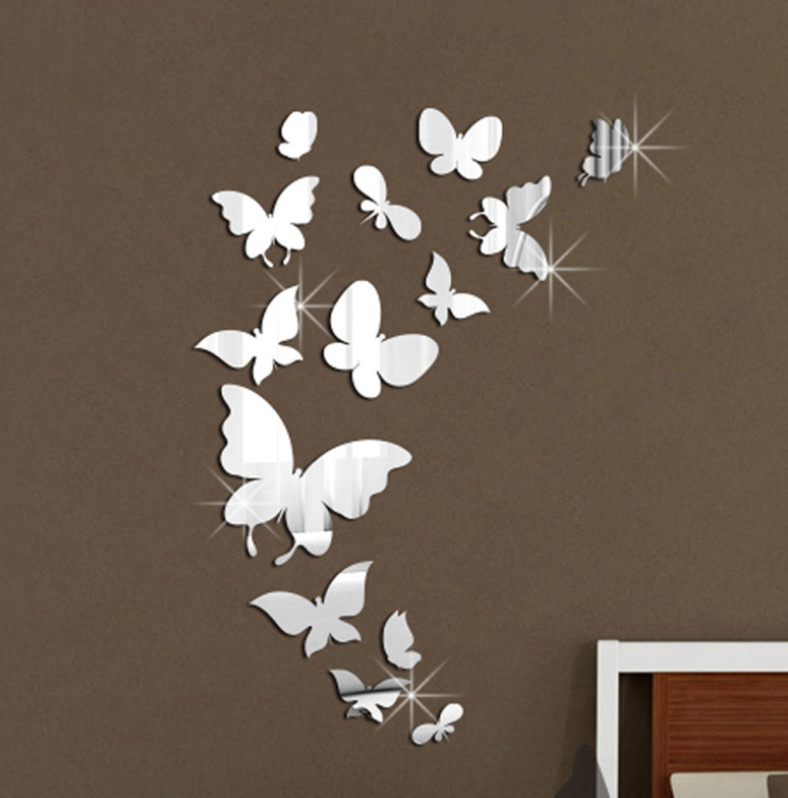 24Pcs Butterflies 3D Mirror Wall Sticker Party Wedding Home Decal Wall Art