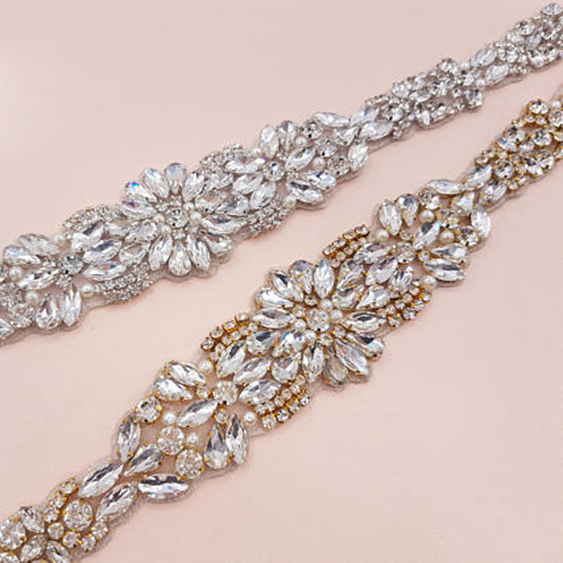 wholesale 17inches Fashion Silver Gold Crystal Applique Trim For Wedding Belt Bridal Sash Bridesmaids Rhinestone Applique DIY