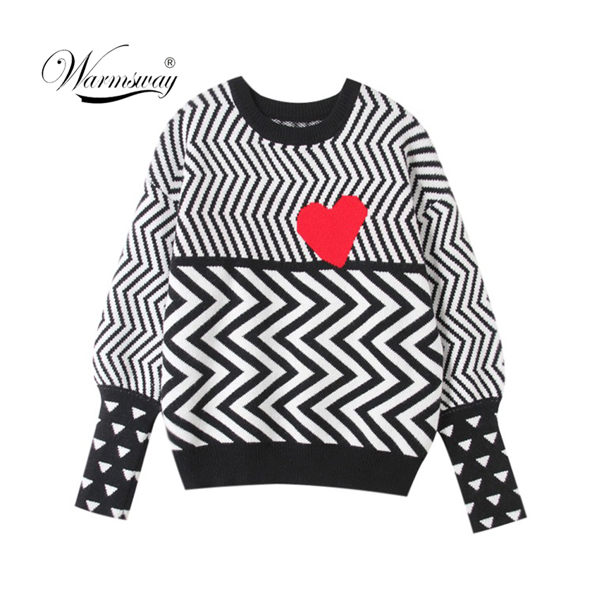 2019 Autumn Winter WomenSweaters Geometric Heart PatternLongSleeve TopsLovely Pullovers KnittedLooseSweaters Tops C-005
