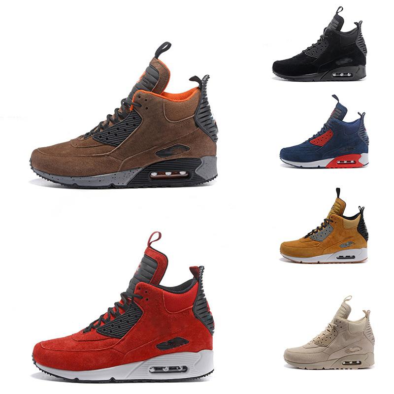 Suede 90 MID Chaussures de course Hommes 90 classiques Sneakerboot neige pluie sport noir Hivert chaussure homme Sneakers Bottes Designer Taille 12