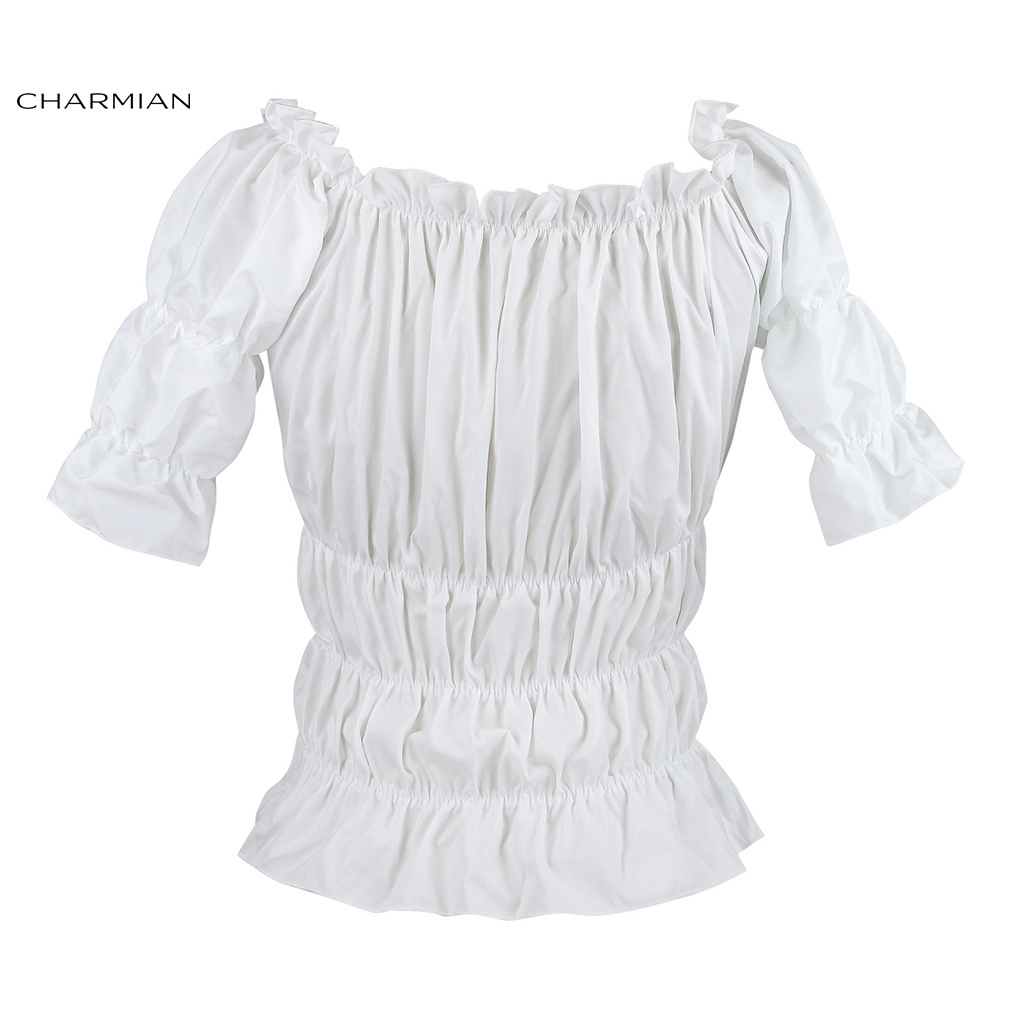 Damen Weiß Lolita Tops Puff Sleeve Schule Lange Ärmel Bluse//Shirts Gothic