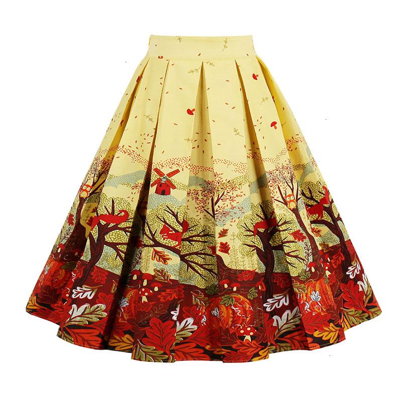 Kostlish Retro Print Flower Summer Skirts Womens High Waist Vintage Skirt Elegant A-Line Midi Women Skirt Plus Size XXL 22 (2)