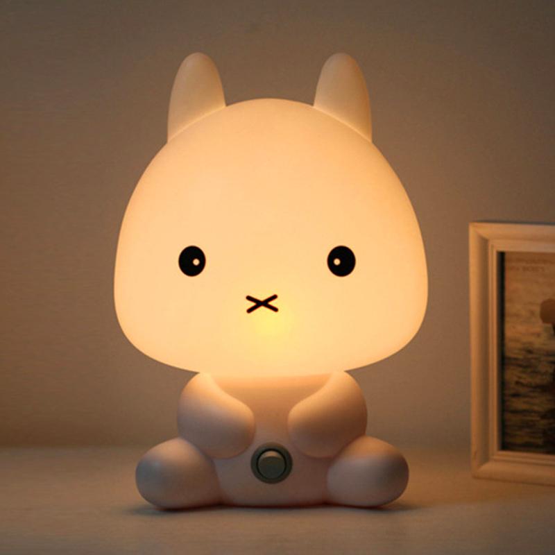 Plug Baby Bedroom Lamps Night Light Cartoon Pets Panda Unicorn Sleep LED Kid Lamp Bulb Table Lamps For Children Gifts Warm Night Light