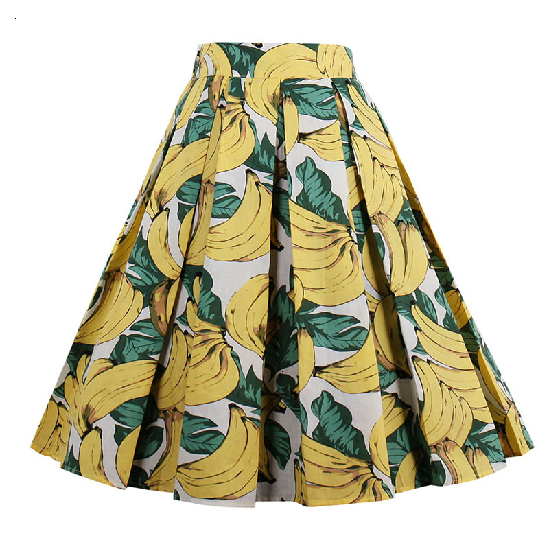Kostlish Retro Print Flower Summer Skirts Womens High Waist Vintage Skirt Elegant A-Line Midi Women Skirt Plus Size XXL 22 (84)