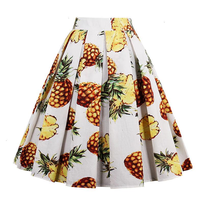 Kostlish Retro Print Flower Summer Skirts Womens High Waist Vintage Skirt Elegant A-Line Midi Women Skirt Plus Size XXL 22 (73)