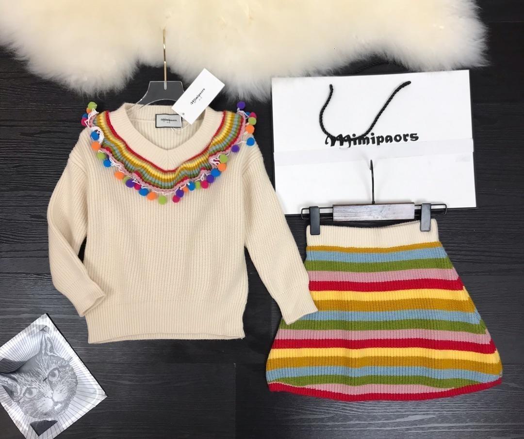 Мода кардиган детский комплект одежды с длинным рукавом красочные украшения мяч свитер пуловер юбка детская одежда для девочек детский спортивный костюм детская одежда