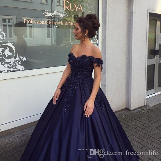 Navy Blue Prom Dresses Long Sleeve Lace Applique Beaded Off the Shoulder Sweet 16 Quinceanera Dress 2018 Custom Made Party Gowns