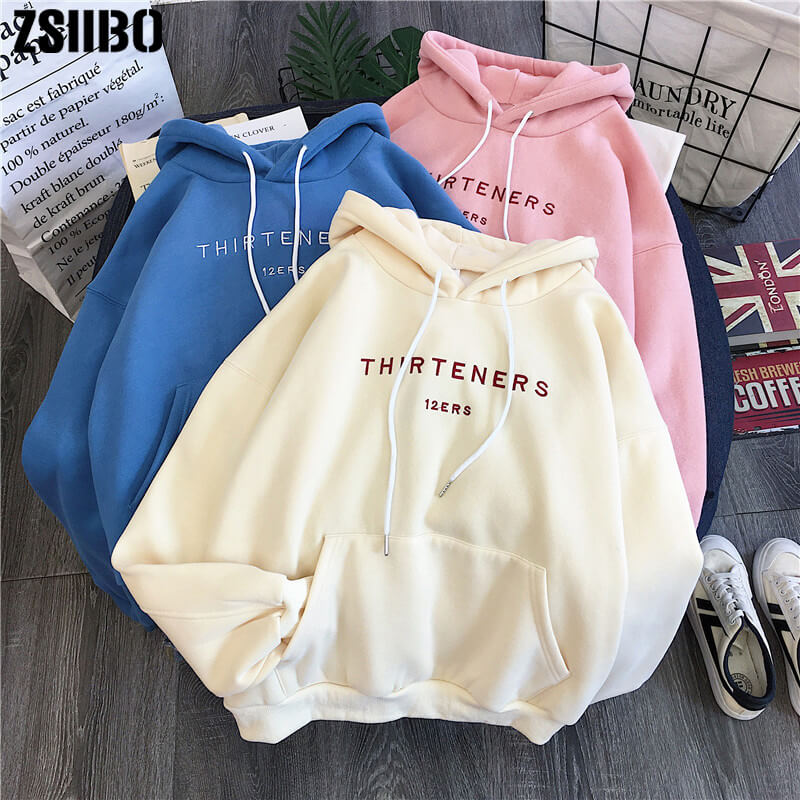 Fashion ins plus velvet sweatshirt hooded hoodies sweatshirt winter women's new Harajuku casual loose large size loose sweatshirt WGWY184