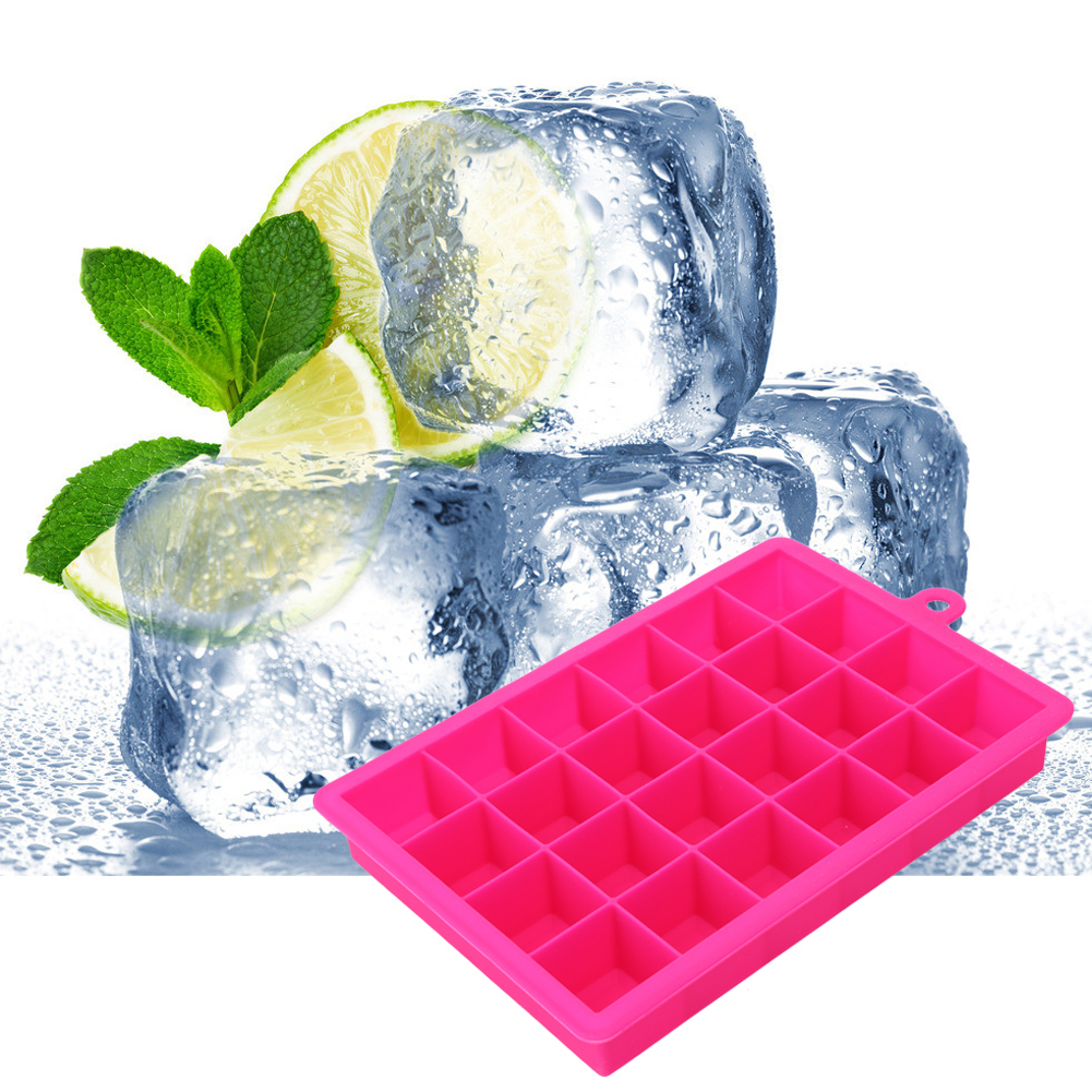 Large Ice Mold 24 Grid Square Shape Silicone Ice Tray Fruit Ice Cream Maker Kitchen Bar Drinking Accessories