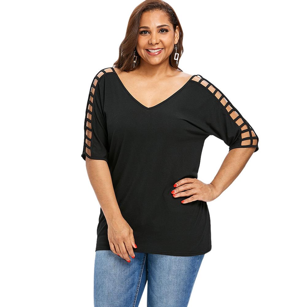 Gamiss Plus Size 5xl V Pescoço Cortado Túnica Tops Escavar Sexy T Shirt Mulheres Roupas Tamanho Grande T-shirt De Algodão Preto Verão 2018 Y19042501