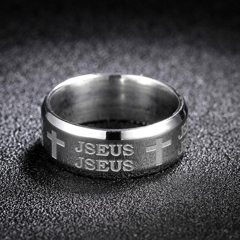 Unisex Ring religious Cross band 8mm wide black 316 stainless steel UK N