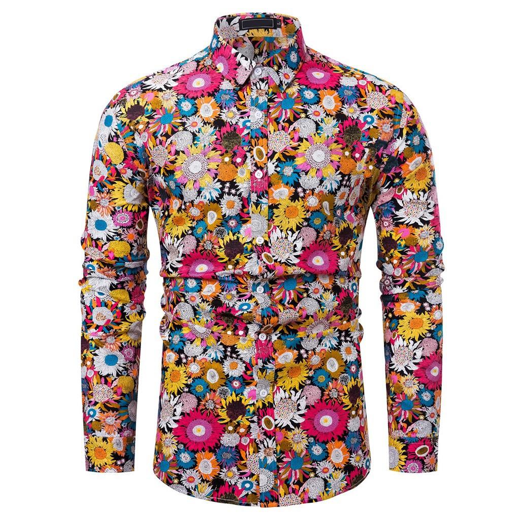Nouvelle Arrivée Homme Chemise Motif Design À Manches Longues Floral Fleurs Imprimer Slim Fit Homme Casual Chemise De Mode Robe Chemises Chemise 20