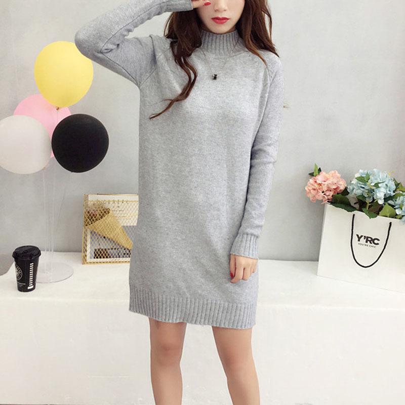 Long Knitted Women Sweater Dress Female Winter Long For Girls Ladies Autumn Winter Dress Women 2018 Pullover Turtleneck Y190515