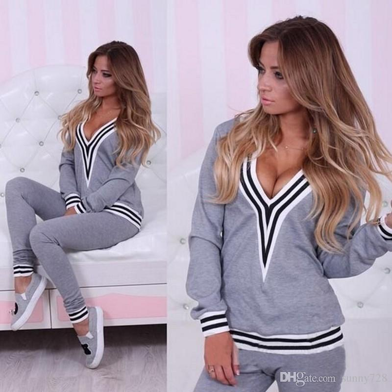 Hottest Sexy Women Tracksuits 2015 New Arrival Two Pieces V Neck Long Sleeves Sport Suits Women Black and White Fashion Sport Clothes