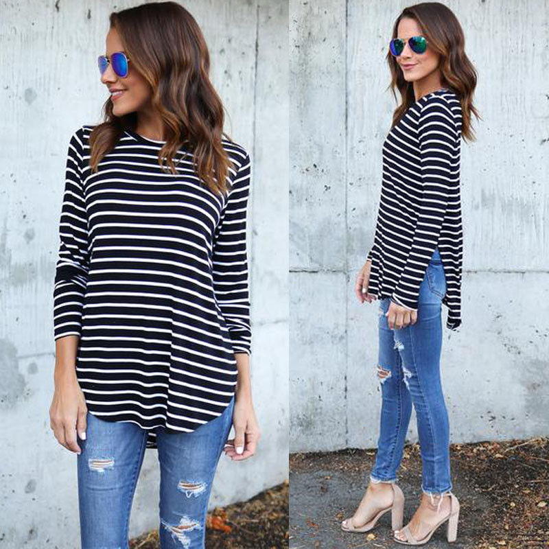 New Fashion Women T-shirt Ladies Casual Long Sleeve Striped T-Shirts Summer Loose Tops Black White Women Clothes