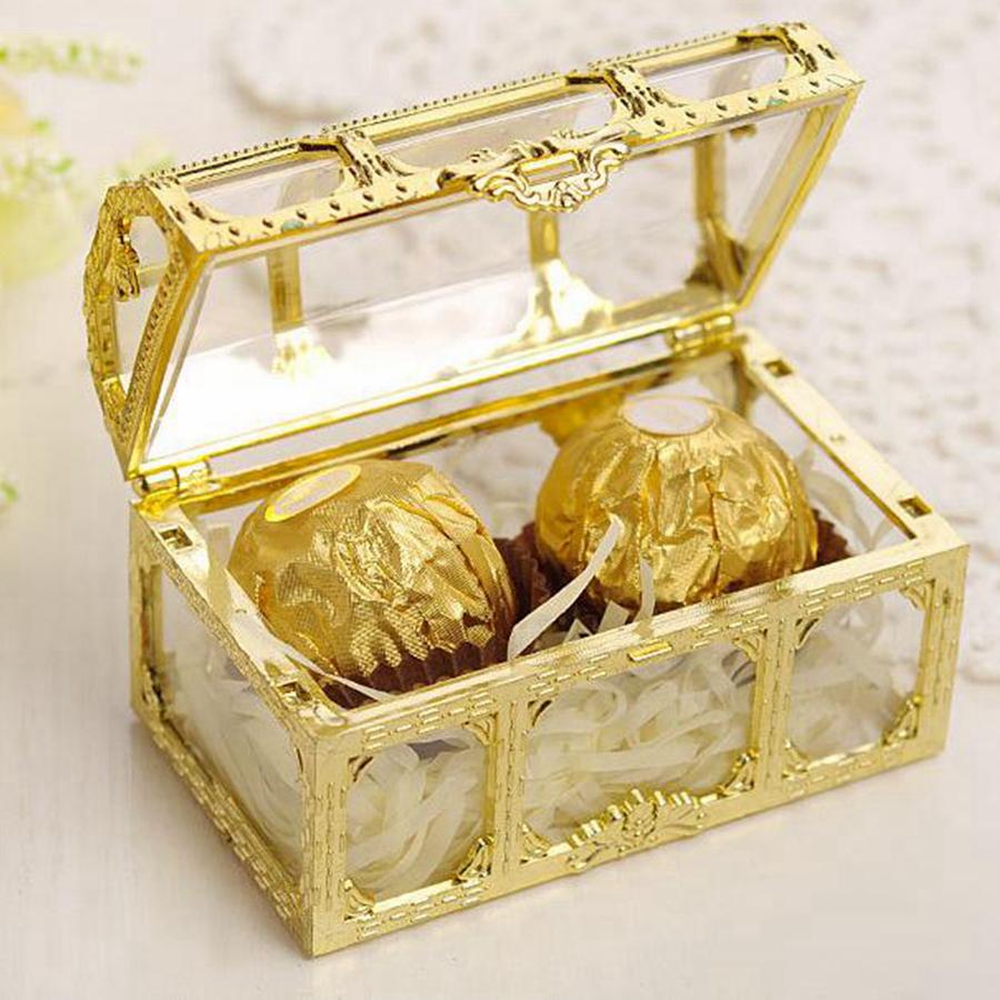 12 Stück Kunststoff Hochzeit Gunsten Schatztruhe Schmuck Candy Faux Box Neue