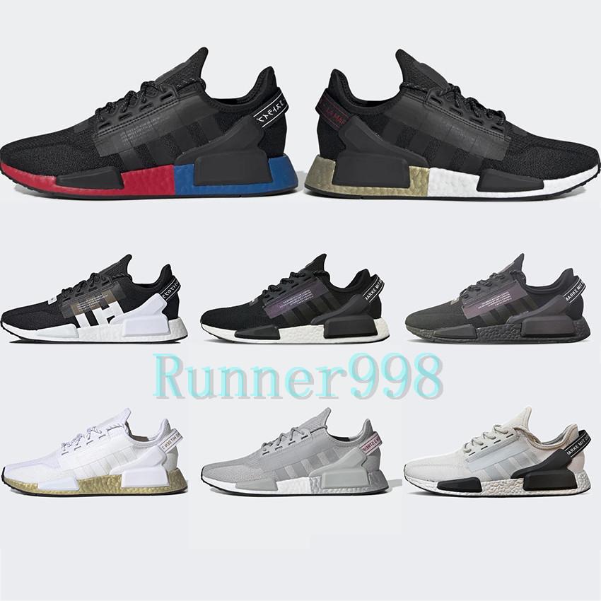 New 2020 Nmd R1 V2 Running Shoes Core Black Og Gold Metallic White