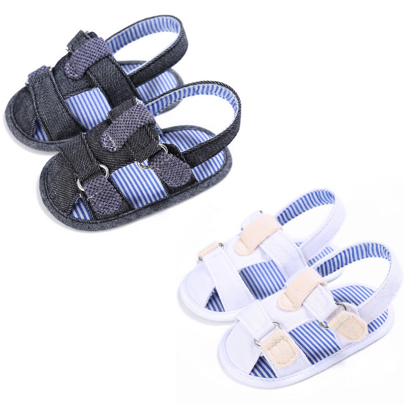 2 Color Summer Fashion Baby Boys Sandals Toddler Infant Kids Baby Boys Canvas Anti-slip Sole Crib Sandals Shoes M8Y02 (1)