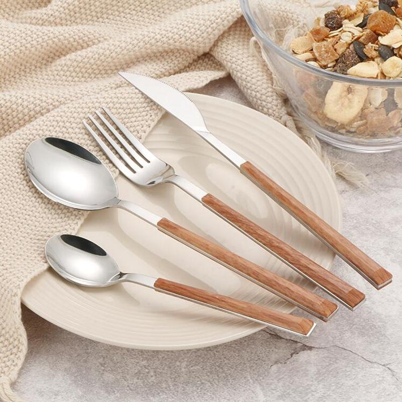 24Pcs-304-Stainless-Steel-Tableware-Set-Glossy-Wood-Silver-Dinnerware-Sets-Western-Food-Knife-fork-Teaspoon