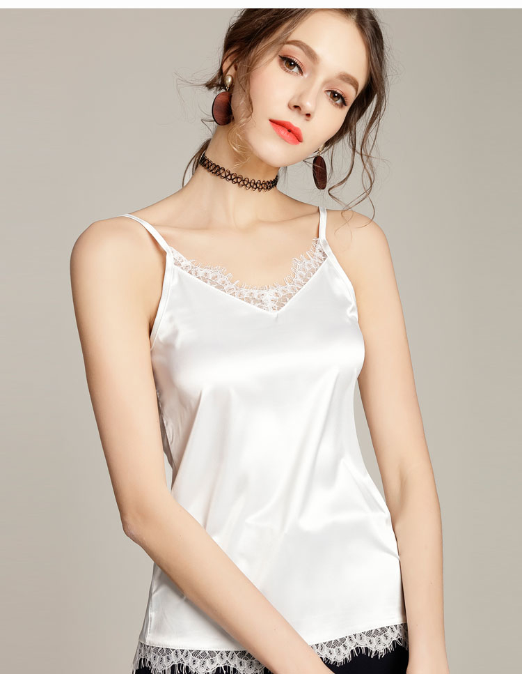 Summer Silk Tank Top Women Sexy V Neck Sleeveless Basic Tops Blusas Casual Womens Vest Lace Camisole Crop Tops For Lady5